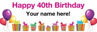 40th birthday banner white