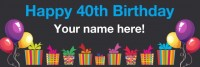 40th birthday banner black