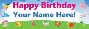 Woodland Creatures Birthday Banner
