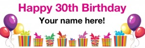 30th birthday banner white