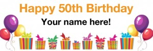 50th birthday banner white