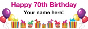 70th Birthday Banner White