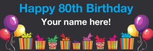 80th birthday banner black