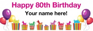 80th birthday banner white